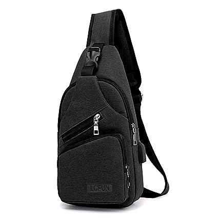 lcfun Canvas Sling Bag Shoulder Chest Cross Body Backpack with USB Charging  Port for Men Women 00dcf34d456e7