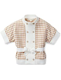 Girls' Ivory Houndstooth Sweater Cardigan Made with Organic Cotton