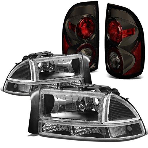 Dodge Dakota Headlight Corner Park (Dodge Dakota 4pcs Pair of Black Housing Clear Corner Headlights + Smoked Lens Altezza Style Tail Light)