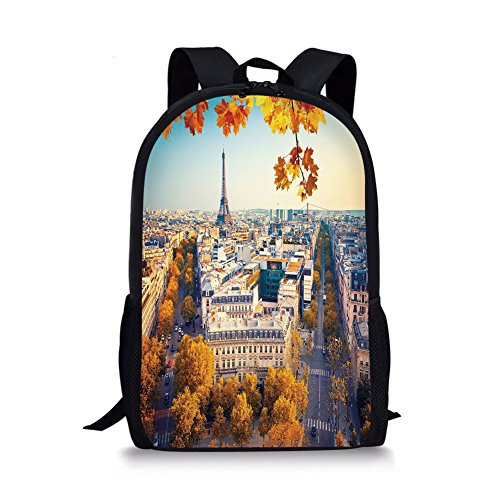 iPrint School Bags Fall,Aerial View of Eiffel Tower at Sunset Paris France Cityscape Historical Landmark Image,Multicolor for Boys&Girls Mens Sport Daypack