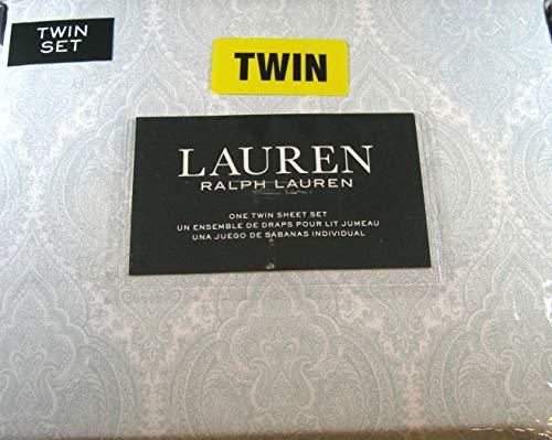 Lauren 3 Piece Paisley 300 Th. Ct. 100% Cotton Twin Size Sheet Set Light Sage Green