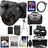 Sony Alpha A6300 4K Wi-Fi Digital Camera & 18-135mm Lens (Black) With 64GB Card + Lenses + Battery + Charger + Tripod + Kit