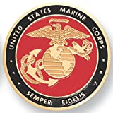 United States Marine Corps. Semper Fidelis 2 Inch Etched Enameled Medallion Insert, Pack of 5