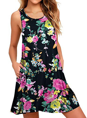 WEACZZY Women Summer Sleeveless Pockets Casual Swing T Shirt Dresses Beach Cover up Plain Pleated Tank Dress (XXL, 00 Floral ()