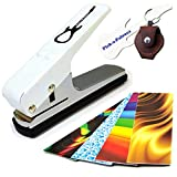 Pick-a-Palooza DIY Guitar Pick Punch - The Premium Guitar Pick Maker and a Leather Key Chain Pick Holder - Gift Pack - White