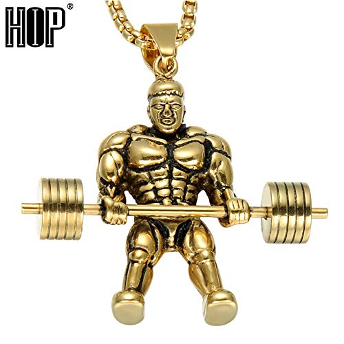 Metal Color: Silver Davitu Hip Gold Color Fitness Barbell Dumbbell Men Necklace Muscle Sports Gym Stainless Steel Pendant /& Necklace for Men Jewelry