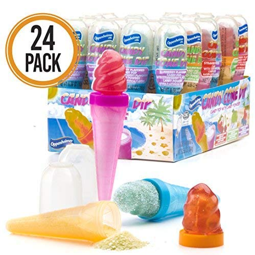 Ice Cream Cone Shaped Candy Dippers 24-Pack - Candy Pop with Flavored Candy Powder Cones in Assorted Colors (Kosher, NET WT 13.55 OZ, 384g)