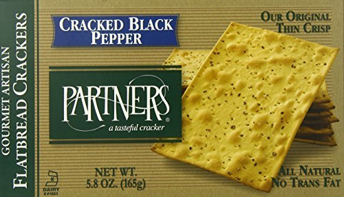 Partners Flatbread Style Crackers, Cracked Black Pepper, 5.8-Ounce Boxes (Pack of 6) by Partners Brand (Flatbread Pepper)