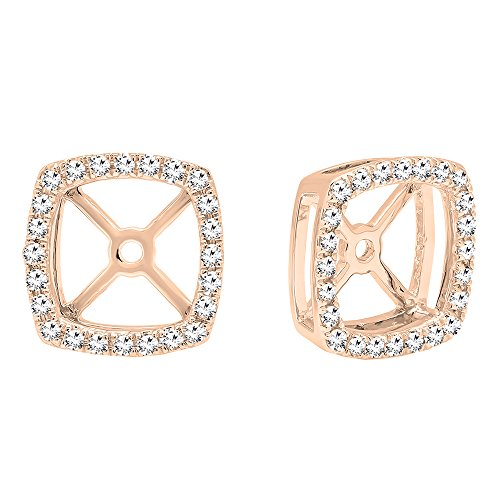 Dazzlingrock Collection 0.30 Carat (Ctw) 14K Round White Diamond Removable Jackets For Stud Earrings 1/3 CT, Rose Gold ()