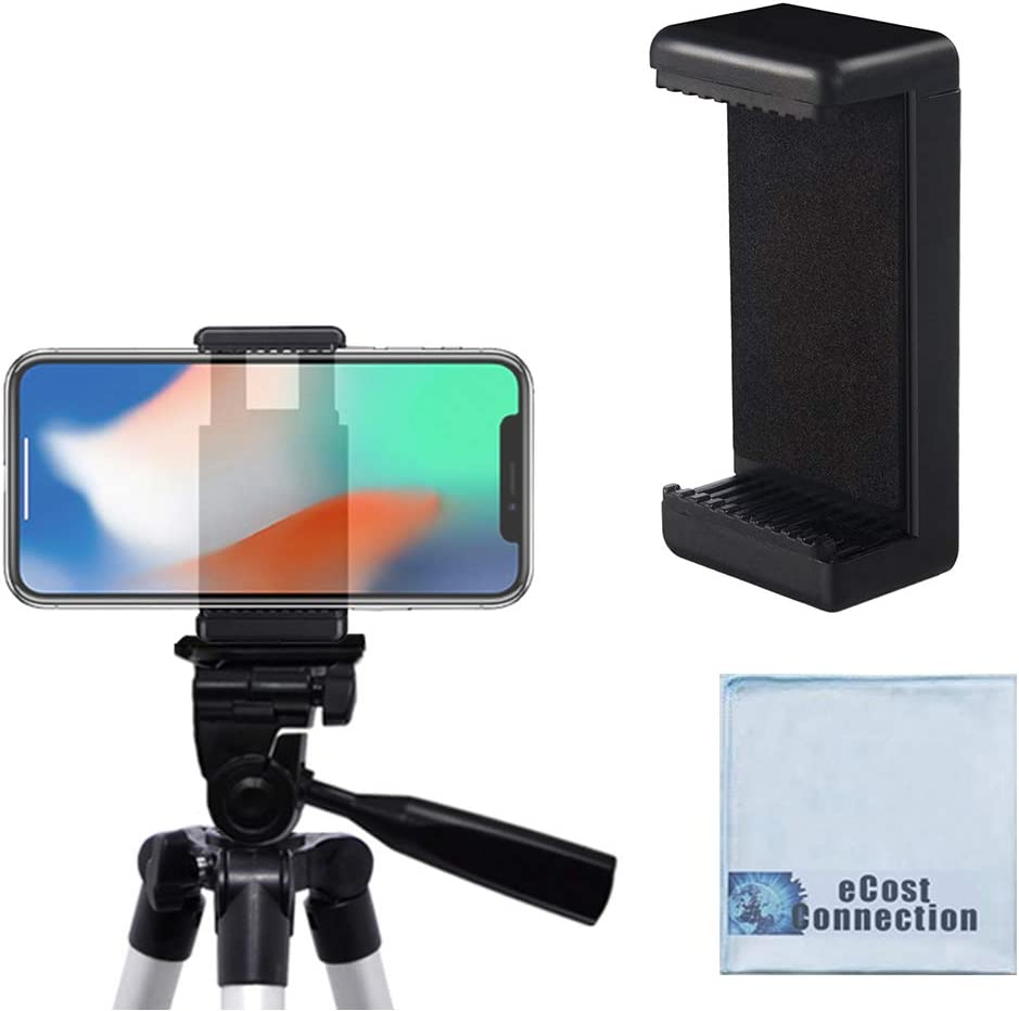 """Acuvar Universal Tripod Smartphone Mounts with Dual Mounting Points for iPhone, Android, and All Smartphones up to 3.5"""" Wide + Microfiber Cloth"""