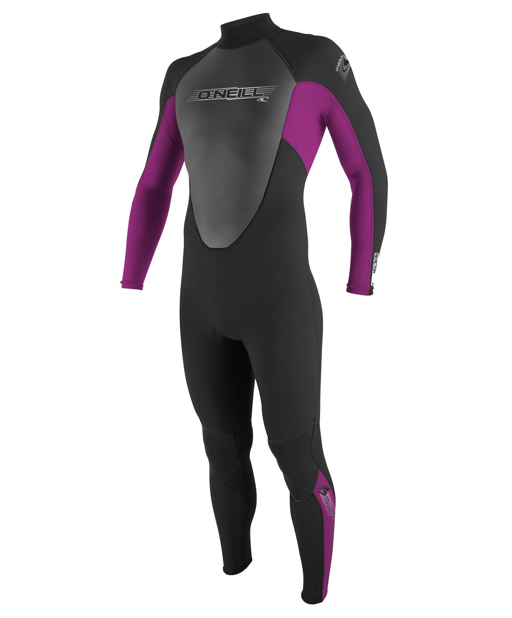 O'Neill Youth Reactor 3/2mm Back Zip Full Wetsuit, Black/Pink/Graphite, 8 by O'Neill Wetsuits (Image #1)