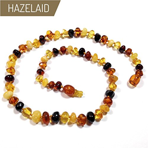 Hazelaid (TM) 12'' Pop-Clasp Baltic Amber Multicolored Necklace by Hazelaid