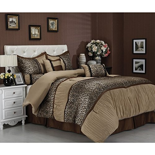 OSD 7pc Tan Black Leopard Comforter Queen Set, Coffee Brown Adult Bedding Master Bedroom Modern Stylish Ruched Texture Pattern Cheetah Elegant Wild Animal Themed Traditional, Polyester by OSD