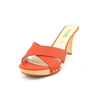 1e1c8766fcb9 Michael Kors Amelie Mule Womens Orange Leather Slides Sandals Shoes  Amazon. co.uk  Shoes   Bags