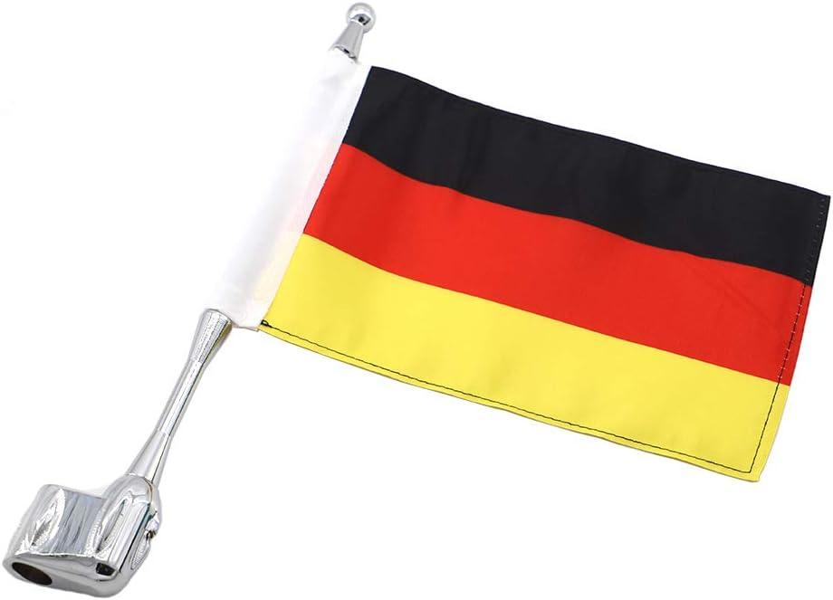 GUAIMI Motorrad Flaggehalter Fahnenstange Fahnenmast Antenne Montage mit 5.5 x 9 Zoll Deutsche Flagge f/ür GL1800 GL1500 Goldwing