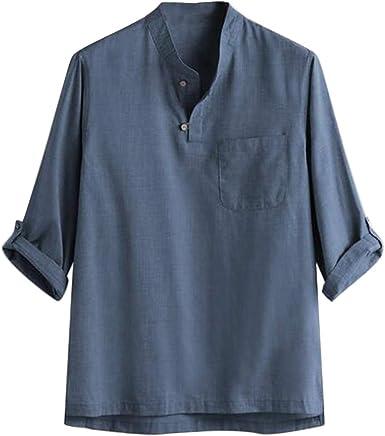 Luckycat Camisa de Vestir de Manga Corta Lino Camisetas De Manga Larga para Hombre Tops Retro Blusa Baggy Lino con Bolsillo Sólido Elegante Informal Camisas Hombre Otoño De Moda: Amazon.es: Ropa y