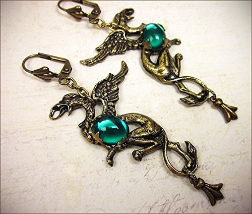 Antiqued Medieval Style Griffin Earrings with Glass Cabochons and Decorated Drop - Gryphon ()