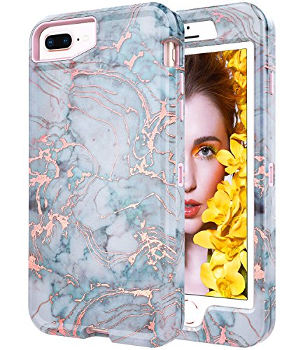 BAISRKE Shiny Rose Gold Marble Case for iPhone 7 Plus / 8 Plus, Heavy Duty Hybrid 3-Layer Full-Body Protect Case Soft TPU & Hard Plastic Back Cover for iPhone 7 Plus / 8 Plus / 6 6s Plus [Blue]