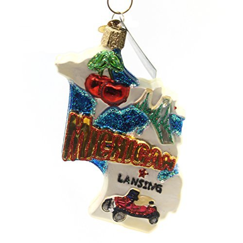 Old World Christmas State Of Michigan Glass Blown Ornament