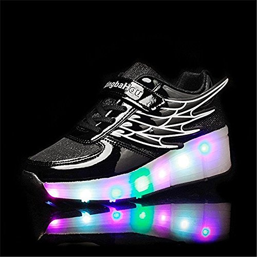 Hanglin Trade Children Athletic Wing Wheel Shoes Roller Skates Sneakers Night Fashionable LED Light Shoes