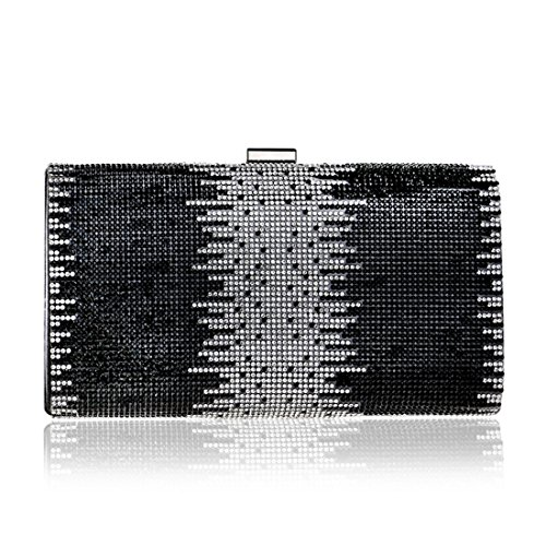 KERVINFENDRIYUN Color Ladies Diamond Purse Black Clutch Bag Evening Fashion Handbag Banquet Bag Black rfrn6xvwq