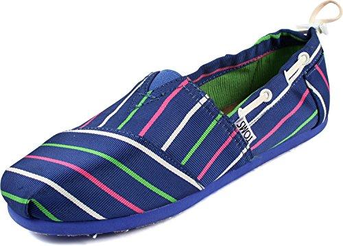 Toms - Youth Slip-On Blue Stripe Bimini Shoes, Size: 4 M US