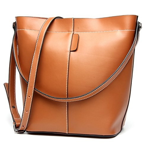 Purse Style Bucket (Mn&Sue Designer Women Retro Cowhide Genuine Leather Bucket Bag Crossbody Shoulder Handbag Hobo Purse (Brown))