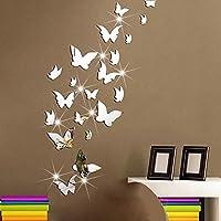 Amaonm 21 piezas extraíbles de cristal acrílico espejo mariposa calcomanías de pared Moda DIY Decoración para el hogar decoración del arte pegatinas de pared Murales para niños Cuarto de niños Dormitorio Puerta Baño