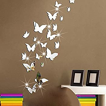 Amaonm 21 PCS Removable Crystal Acrylic Mirror Butterfly Wall Decals  Fashion DIY Home Decorations Art Decor