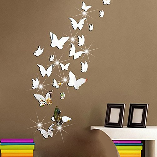 ble Crystal Acrylic Mirror Butterfly Wall Decals Fashion DIY Home Decorations art Decor Wall Stickers Murals for Kids Nursery Room Bedroom Door Bathroom ()