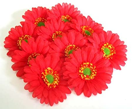 (100) BIG Red Gerbera Daisy Silk Flower Heads , Gerber Daisies - 3.5