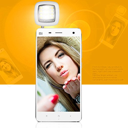 Saflyse Portable Mini 16 LED Selfie Flash Light Dual Color Warm White and White External Rechargeable 3.5mm Jack Video Light for IOS 6.0+ Iphone 6 6 Plus 5s 5 4s 4 Ipad Mini 2 3 Air Air 2 and Android 4.0+ Samsung Galaxy S6 S6 Edge S5 S4 S3 S2 Note 4 3 2 HTC One M8 Google Nexus 6 Sony Blackberry - Black