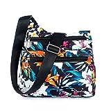Mynos Women Crossbody Bag Nylon Floral Purse and Handbags Zipper Pockets Travel Shoulder Bag Ladies (Lily)