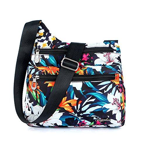 Zipper Mynos Floral Lily Bag and Travel Shoulder Nylon Purse Bag Ladies Crossbody Women Pockets Handbags UwHqUgR