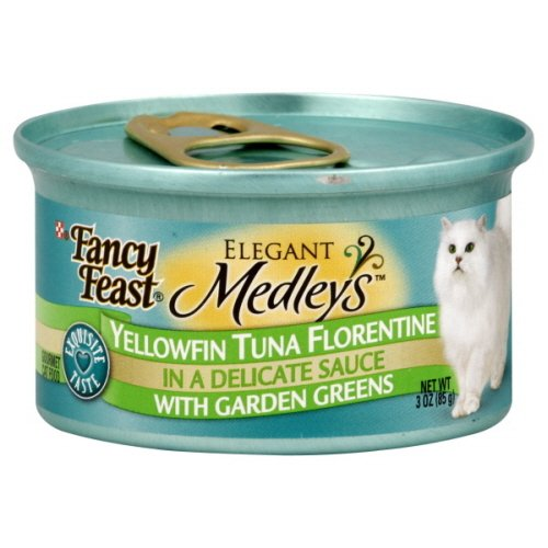 Fancy Feast Elegant Medleys Cat Food, Gourmet, Yellowfin Tuna Florentine in a Delicate Sauce, 3 Oz, (Pack of 4)
