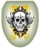 Toilet Tattoos TT-1116-O Skull Grunge Decorative Applique for Toilet Lid, Elongated