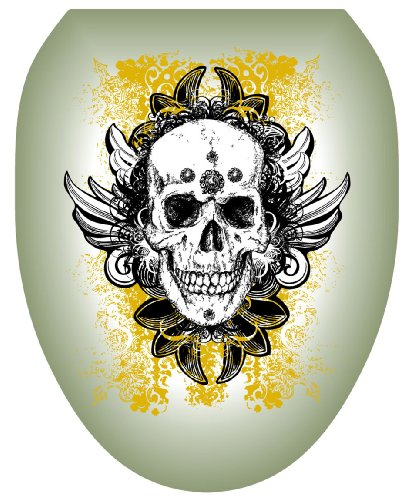 Toilet Tattoos TT-1116-O Skull Grunge Decorative Applique for Toilet Lid, Elongated