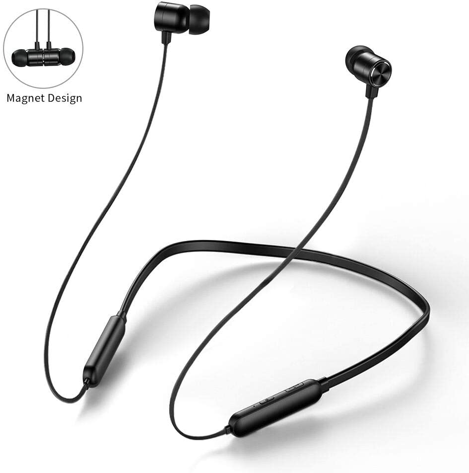 Hotott Auriculares Bluetooth Deportivos, Inalámbricos Auriculares Magnéticos Bluetooth 5.0 In-Ear de Inalámbricos Deportes Auriculares Neckband para iOS Android Móviles Smartphones PC (Negro)