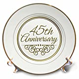3dRose cp_154487_1 45th Anniversary Gift Gold Text for Celebrating Wedding Anniversaries 45 Years Married Together Porcelain Plate, 8-Inch