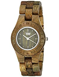 Wewood Women's Moon MOON-ARMY Green Wood Analog Quartz Watch with Green Dial