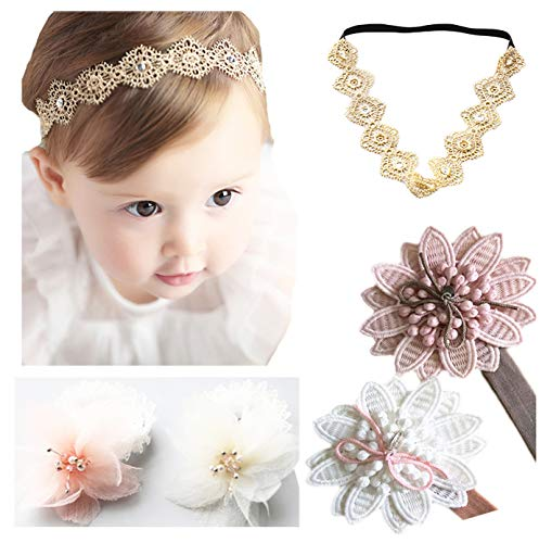 (DANMY Baby Girl Super Stretchy Headband Big Lace Petals Flower Baby Hair Band Newborn Hair Accessories (5pcs Mixed Color))