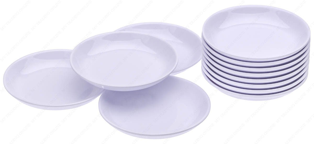 Round Melamine Soy Dipping Sauce Dishes, Set of 12 Dishes, 3-1/2 Inches (Diameter) x 1/2 Inches (High), 1.5 Ounces