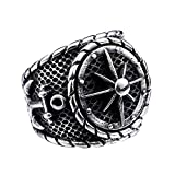 Solid Black Vintage Pirate Anchor Punk Rock Stainless Steel Signet Ring