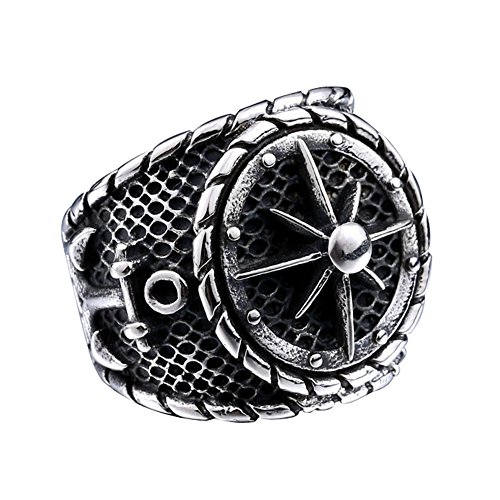 Zovivi Solid Black Vintage Pirate Anchor Punk Rock Stainless Steel Signet Ring
