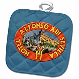 3dRose BLN Vintage Travel Posters and Luggage Tags - Alfonso XIII Sevilla Hotel Luggage Label Reproduction - 8x8 Potholder (phl_170516_1)
