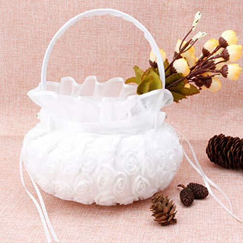 Romantic Lace Flower Bowknot Flower Girl Basket Silk Rose Basket for Wedding Party Ceremony (White)