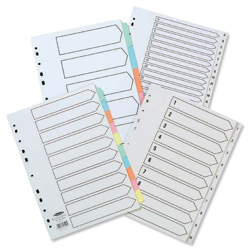 Concord Recycled Dividers 230 micron Card with Coloured Tabs 10-Part A4 White Ref 48199 -