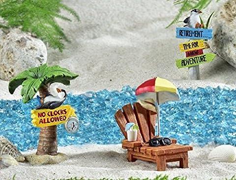 Radkell Miniature Dollhouse Garden Kit Retirement 3 pc Gift Boxed NO CLOCKS ALLOWED - Evergreen Golf Umbrella