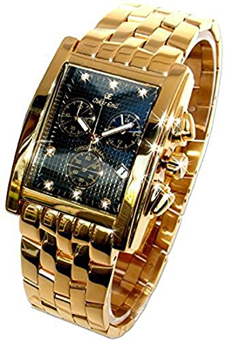 Oskar Emil Gents Rodez Limited Edition 23ct Gold Plated 7 Diamond Chronograph Watch with Black Dial RRP $550