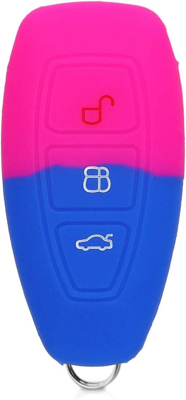 /Étui de Protection Souple kwmobile Accessoire cl/é de Voiture pour Ford Coque pour Clef de Voiture Keyless Go Ford 3-Bouton en Silicone Blanc-Noir